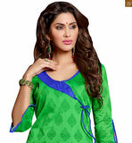 Superb eye grabber karachi churidar type salwar kameez dress for indian women. This casual suit for girls is a vaue for money product green chanderi-cotton different style neck designer dress with dori and double colored green and blue cotton bottom photo