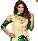 Up-to-date pakistani dresses shalwar kameez designs 2015 casual suit set for indian daily wear beige and black bhagalpuri-silk puff style short sleeves salwar kameez with print and patch work Photo