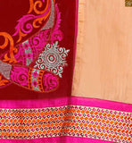 Cream and maroon cotton half and half type floral embroidered dress with pink churidar bottom Pic