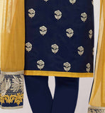 NAVY BLUE BANARASI CHANDERI TOP WITH SANTOON SALWAR AND DULL YELLOW NET DUPATTA TREND SIMPLE PUNJABI SALWAR KAMEEZ FOR WOMEN