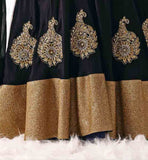 BLACK VELVET EMBROIDERED LEHENGA WITH CHIKOO LONG  BHAGALPURI SILK TOP AND CHIFFON DUPATTA FANCY LEHENGA CHOLI DESIGNS FOR INDIAN WEDDINGS