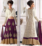 STUNNING LOOKING LEHGNA PAIRED WITH FULL SLEEVE LONG AND SUPERB CHOLI BACK DESIGNS | NICE COLOR COMBINATION OF OFF-WHITE BHALPURI JACKET AND CONTRAST PURPLE VELVET LEHENGA
