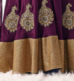SUPERB COLOR COMBINATION OFF WHITE BHALPURI LONG JACKT LOOK CHOLI WITH CONRAST PURPLE VELVET LONG CHOLI LEHGNA DESIGNS WITH STUNNING BACK LOOK