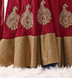 CHIKOO AND RED BHAGALPURI SILK AND VELVET WITH CHIFFON DUPATTA RICH EMBROIDERY WORK LENGHA CHOLI WEDDING WEAR LEHENGA CHOLI NEW 2015 PATTERNS