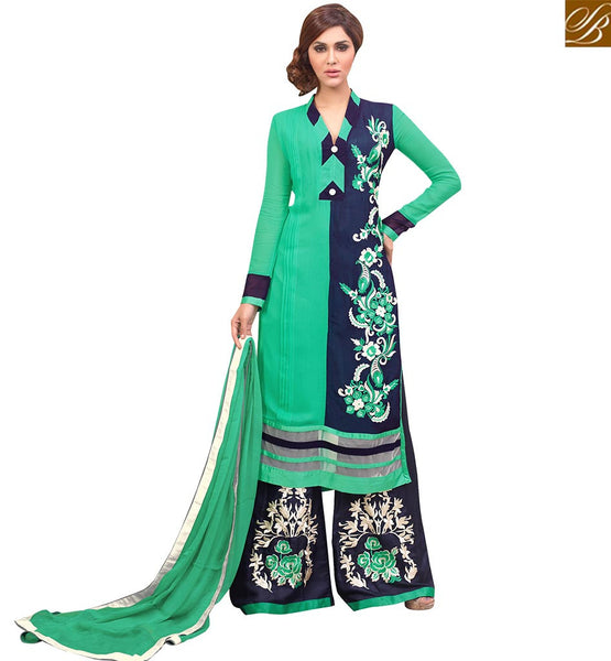 GORGEOUS DESIGNER PARTY WEAR SALWAAR KAMEEZ DESIGN VDRNA1006 BY BLUE & GREEN