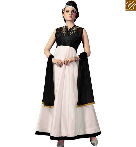 STYLISH BAZAAR INVITING WHITE AND BLACK SILK EMBEDDED ANARKALI SALWAR KAMEEZ WITH LATEST STYLE SLMKT1006