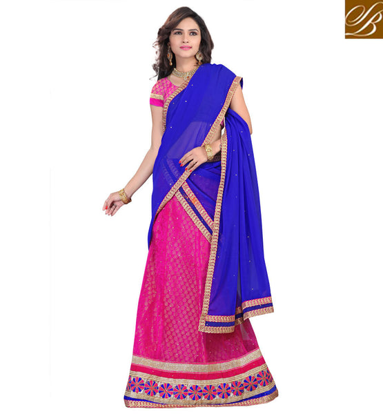 BLOUSE DESIGNS FOR LEHENGA CHOLI BEST INDIAN DRESSES ONLINE SHOP PINK NET LEHENGA WITH JACQUARD CHOLI AND BLUE CHIFFON HALF-SAREE