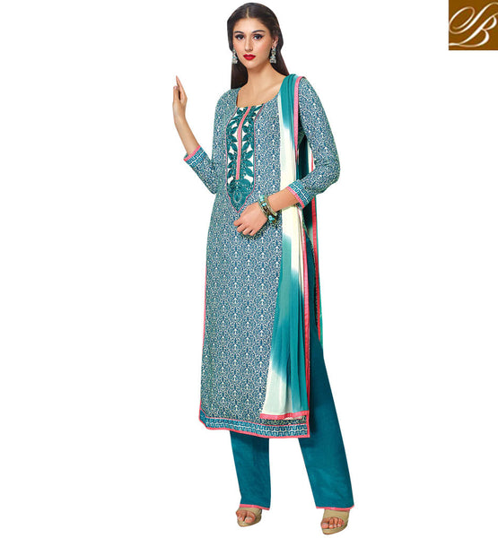 LATEST-DESIGNER-FROCK-SUITS-STYLISH-SALWAR-KAMEEZ-DESIGNS-OF-SUITS-FOR-LADIES-EYE-CATCHING-BLUE-COTTON-TOP-WITH-MATCHING-SALWAR-AND-SHADED-CHIFFON-DUPATTA