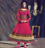 FABULOUS DARK PINK DESIGNER ANARKALI CHURIDAR OUTFIT WITH DUPATTA INZH1006