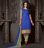 BOLLYWOOD FASHION BEAUTIFUL DRESSES ONLINE COOL BLUE CHANDERI COTTON TOP WITH CREAM SANTOON BOTTOM AND SHADED ODHNI