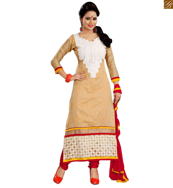 Casual suits designs latest salwar kameez pattern shop online cream cotton heavy embroidered neck patch worked salwar kameez with rani color churidar bottom Image