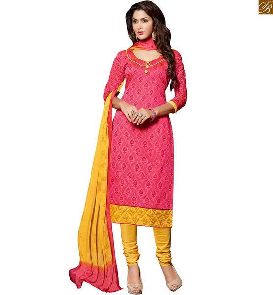 Kurta salwar indian dress design patterns for day-to-day wear dusty-pink chanderi-cotton three fourth type sleeves dress with border and yellow cotton bottom Image