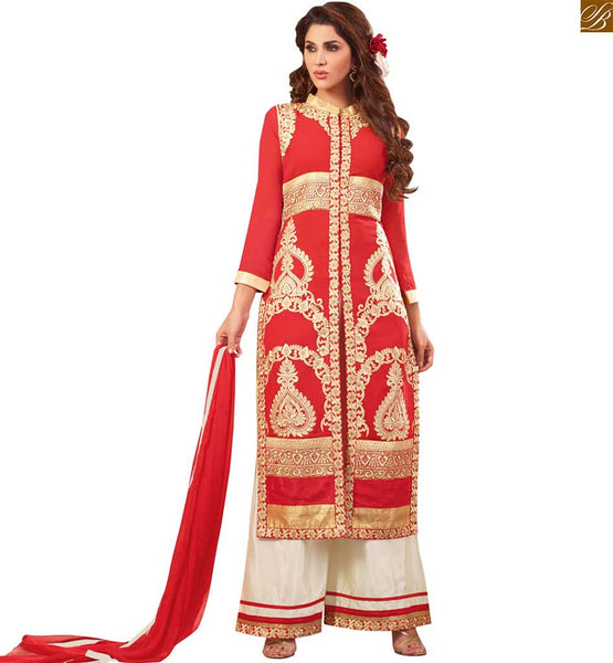 Photo of Latest salwar designs paired with long kameez design of suit red faux-georgette golden color heavy embroidered salwar kameez with cream santoon palazzo bottom