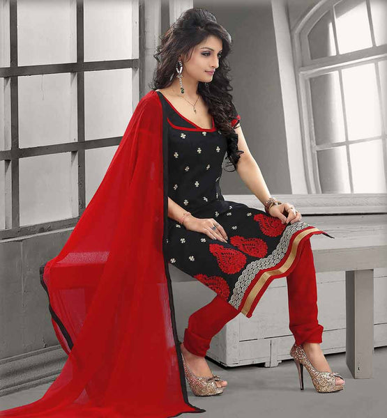 STYLISH PATTERN OF EMBROIDERY SUITS  FOR WOMEN CHANDERI COTTON BLACK STRAIGHT CUT SUIT WITH RED SALWAR AND CHIFFON DUPATTA