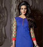 COOL BLUE CHANDERI COTTON TOP WITH CREAM SANTOON BOTTOM AND SHADED ODHNI CREATE A SOLID IMPRESSION BY WEARING THIS TRENDY LOOK SUIT. RICH EMBROIDERY DESIGN SLEEVES AND HEMLINE INCREASES THE LOOK