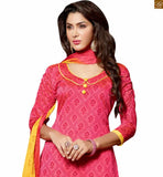 Exclusive kurta salwar indian dress design with dual contrasting colors to enhance the look. This style patterns for office day-to-day wear are the most suitable dusty-pink chanderi-cotton three fourth type sleeves dress with border and yellow cotton bottom photo