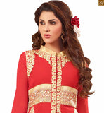 Image of Latest salwar designs paired with decent look long kameez design of suit for every stylish women red faux-georgette golden color heavy embroidered salwar kameez with cream santoon palazzo bottom
