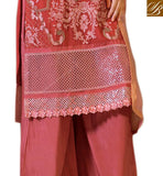 SPECTACULAR STRAIGHT CUT PARTY WEAR DRESS WITH ZARI, RESHAM EMBROIDERY, TIKIWORK AND LACE BORDER PEPPY PINK GEORGETTE SUIT WITH MATCHING SANTOON SALWAR AND PEACH CHIFFON DUPATTA