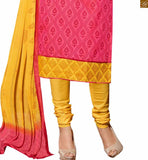 Dusty-pink chanderi-cotton three fourth type sleeves dress with border and yellow cotton bottom pic