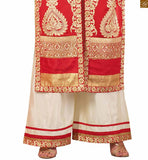 Photo of Red faux-georgette golden color heavy embroidered salwar kameez with cream santoon palazzo bottom