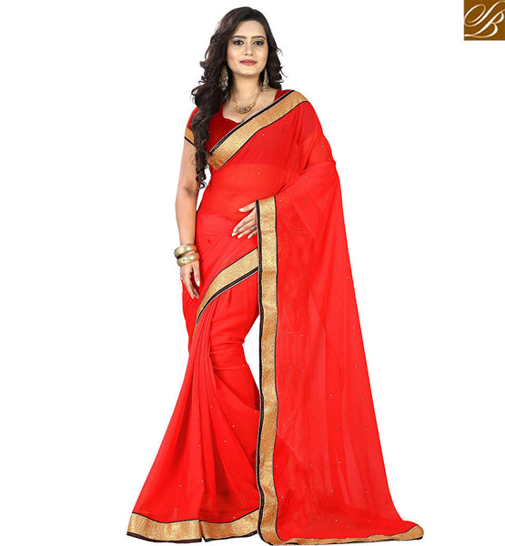 STYLISH BAZAAR ALLURING BRIGHT BORDER WORKED SINGLE COLOR SARI VDPCK10070