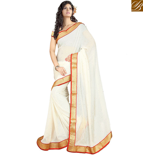 STYLISH BAZAAR  ANGELIC SINGLE COLOR SAREE WITH LACE BORDER VDPCK10071