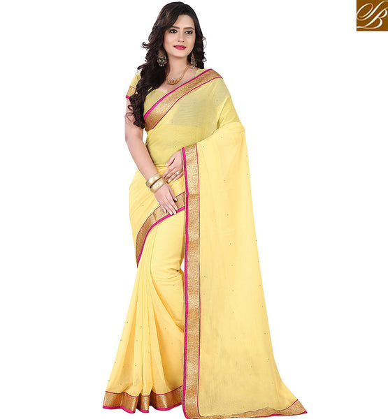 STYLISH BAZAAR CAPTIVATING SARI INDIAN SINGLE COLOR DESIGNER BORDER VDPCK10074