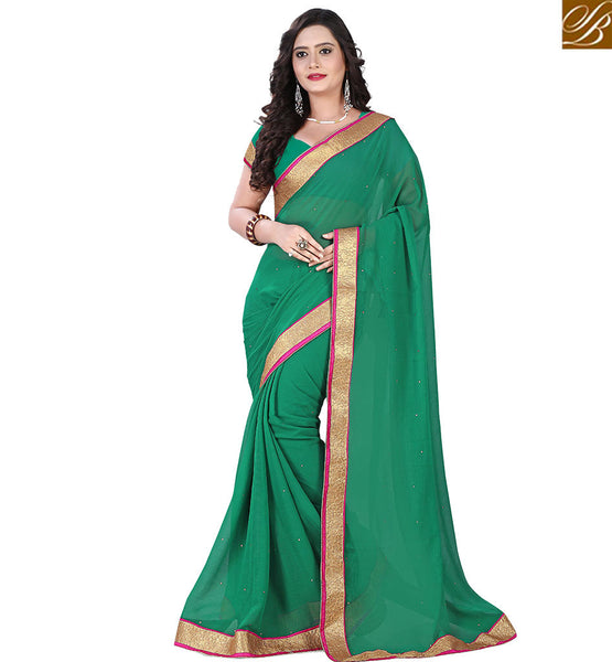 STYLISH BAZAAR CUTE GREEN INDIAN ONLINE SARI BLOUSE VDPCK10078