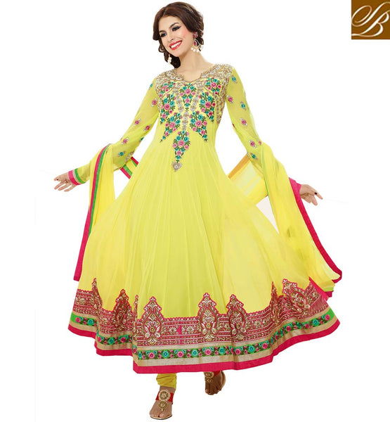 ALLURING YELLOW GEORGETTE ANARKALI RTZO1007 - STYLISHBAZAAR -  Wedding anarkali shopping online,Wedding anarkali suit online shopping, wedding anarkali dress online shopping, wedding online anarkali dresses shopping, wedding online anarkali suits shopping