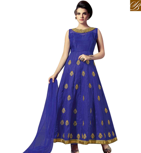 STYLISH BAZAAR APPRECIATING BLUE SILK DESIGNER ANARKALI SALWAR KAMEEZ WITH PLEASANT STYLE OF THE ERA SLMKT1007