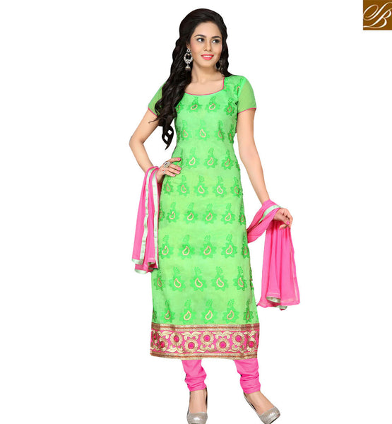 TRENDY PAKISTANI STYLE EMBROIDERED SALWAAR KAMEEZ RTKNA1007 GREEN