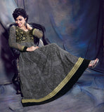 BREATHTAKING STEEL GREY ANARKALI SALWAR SUIT WITH CHIFFON DUPATTA INZH1007