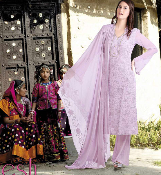 PURPLE PURE GEORGETTE PARTY WEAR SALWAR KAMEEZ MATERIAL WITH DUPATTA CF7W1007 STYLISHBAZAAR COSMOS 7 WONDERS FASHIONS COLLECTION