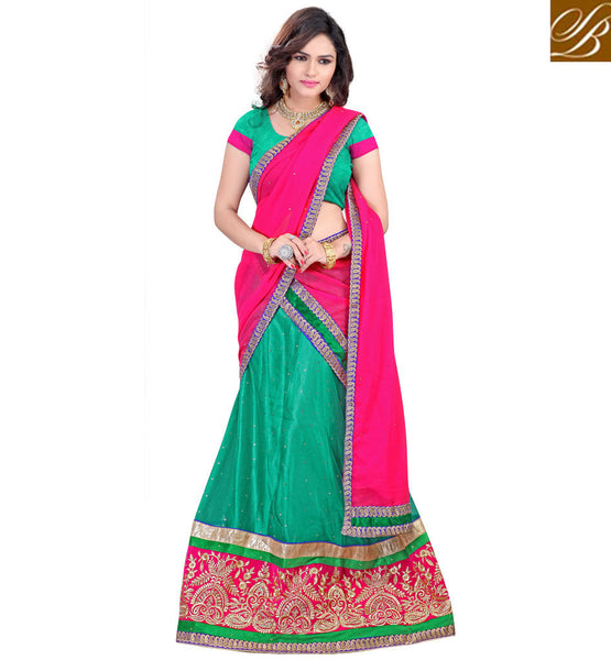 BOLLYWOOD LEHENGA CHOLI DESIGNER INDIAN OUTFITS INSPIRED BY CELEBRITIES GREEN NET LEHENGA WITH JACQUARD CHOLI AND PINK CHIFFON HALF-SAREE