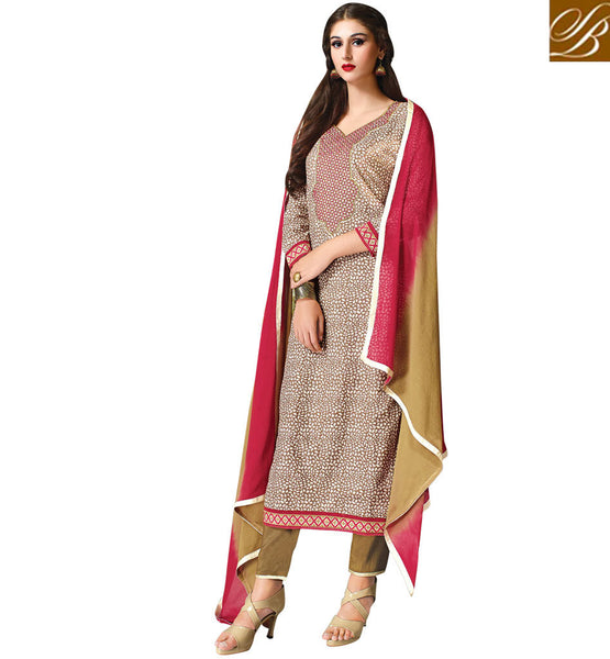 INDIAN-SUITS-2015-DESIGNER-DRESS-SALWAR-KAMEEZ-DESIGNS-OF-STYLISH-SUITS-BEAUTIFUL-BROWN-COTTON-TOP-WITH-COMPLEMENTING-SALWAR-AND-SHADED-CHIFFON-DUPATTA