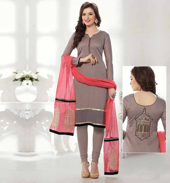 2015 SALWAR KAMEEZ DESIGNS FRONT BACK IMAGES GREY BANARASI CHANDERI STRAIGHT CUT OFFICE WEAR TOP