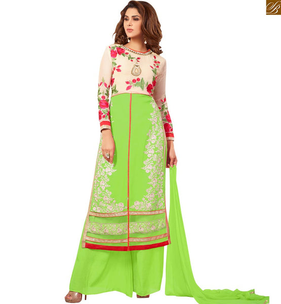 Photo of Cute dresses indian traditional kurta shalwar lucknowi suits parrot-green faux-georgette embroidered three fourth type sleeves salwar kameez with matching bottom