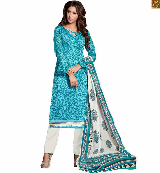 Latest dress style of new salwar kameez designs 2015 best suit sky-blue chanderi-cotton different cut sleeves salwar kameez with off white cotton punjabi style bottom Image