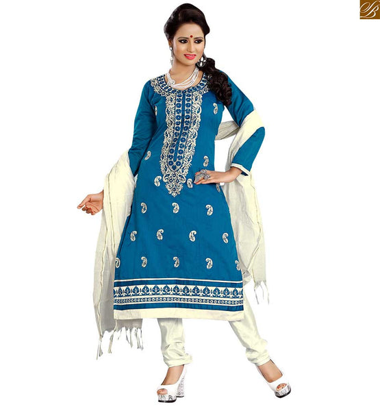 Punjabi suit neck design for salwar kameez dress patterns online blue cotton round neck designer salwar kameez with heavy embroidered patch work on neck line Image
