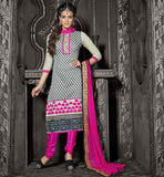 SHALWAR KAMEEZ DESIGNS WITH STYLISH LONG PATTERN OFF-WHITE CHANDERI COTTON TOP WITH PINK SANTOON BOTTOM AND NAZNEEN ODHNI