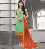 SHALWAR KAMEEZ EMBROIDERED SUITS FOR WOMEN CHANDERI COTTON GREEN STRAIGHT CUT SUIT WITH ORANGE SALWAR AND CHIFFON DUPATTA