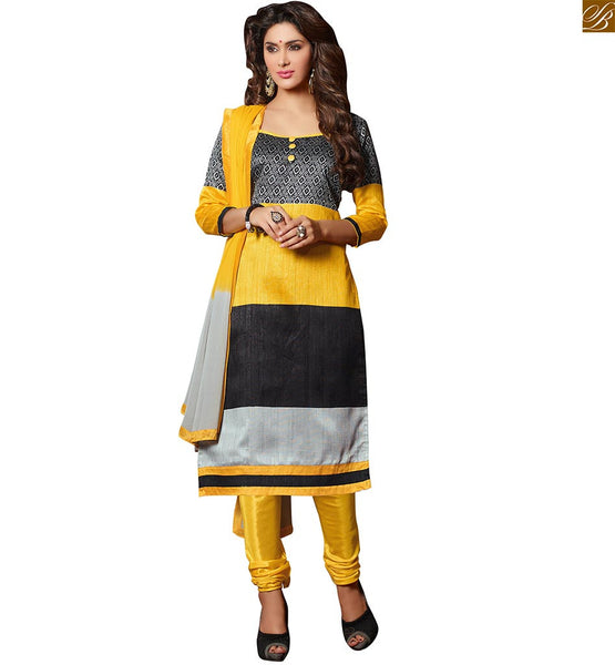 Stylish suits pakistani salwar kameez designs for teen girls yellow, black and grey bhagalpuri-silk boat type neck on dress with piping patch work and button Image
