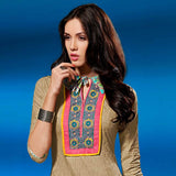 CHARMING BEIGE SELF PRINTED AND EMBROIDRED SALWAR SUIT WITH DUPATTA