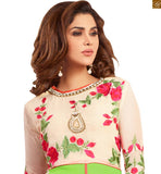 Image of New collection of cute dresses indian traditional kurta shalwar lucknowi suits online shop parrot-green faux-georgette embroidered three fourth type sleeves salwar kameez with matching bottom