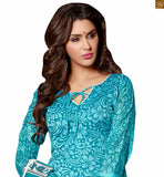New collection of latest dress style of new salwar kameez designs 2015. Best suit from our low range stylish colorful suits sky-blue chanderi-cotton different cut sleeves salwar kameez with off white cotton punjabi style bottom Photo