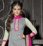 OFF-WHITE CHANDERI COTTON TOP WITH PINK SANTOON BOTTOM AND NAZNEEN ODHNI BUILD A LASTING EFFECT THROUGH SPORTING THIS EXCITING STRAIGHT DESIGN SUIT WITH EXCITING SLEEVE, COLLAR AND NECK DESIGN