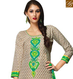 COOL-CHIKOO-COTTON-TOP-WITH-COMFORTABLE-SALWAR-AND-EXCITING-CHIFFON-DUPATTA-PUNJABI-STYLE-KAMEEZ-WITH-EMBROIDERY-DESIGNING-ON-NECKLINE-WITH-PLAIN-SALWAR-AND-PRINTED-ODHNI