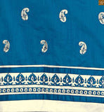Blue cotton round neck designer salwar kameez with heavy embroidered patch work on neck line Pic