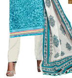 Sky-blue chanderi-cotton different cut sleeves salwar kameez with off white cotton punjabi style bottom pic