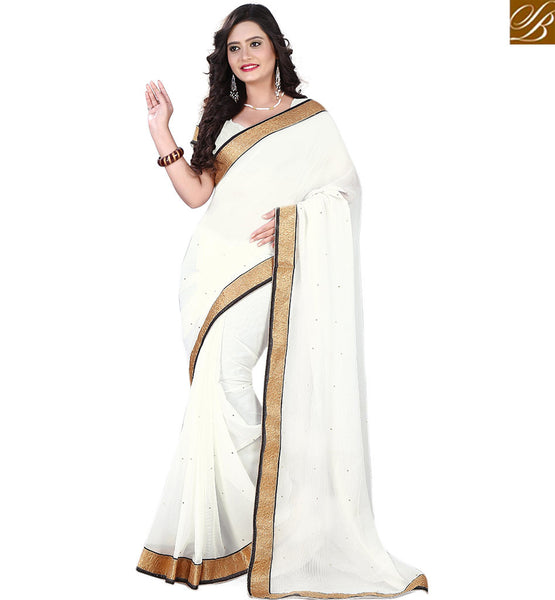STYLISH BAZAAR ELEGANT SINGLE COLOR BORDER SAREE VDPCK10081